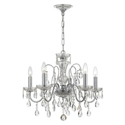 Crystorama Traditional Crystal 5 Light Clear Crystal Chrome Chandelier