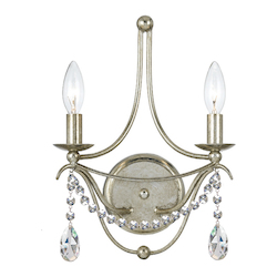 Crystorama Metro 2 Light Antique Sliver Sconce