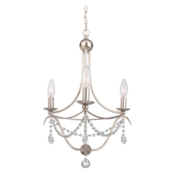 Crystorama 3 Light Antique Silver Mini Chandelier