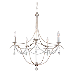 Crystorama Metro 5 Light Spectra Crystal Antique Silver Chandelier