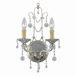 Crystorama 2 Light Silver Leaf Sconce