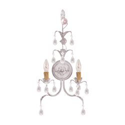 Crystorama Athena 2 Light Antique White Sconce