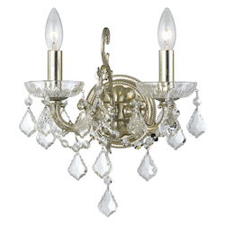 Crystorama Highland Park 2 Light Spectra Crystal Olde Silver Sconce