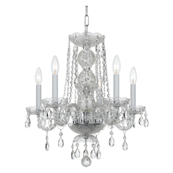 Crystorama Traditional Crystal 5 Light Clear Crystal Chrome Mini Chandelier