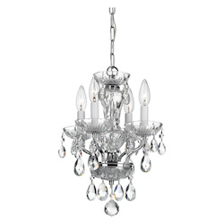 Crystorama Traditional Crystal Swarovski Strass 4 Light Chrome Mini Chandelier