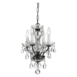 Crystorama Traditional Crystal Spectra 4 Light Chrome Mini Chandelier