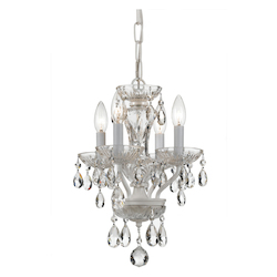 Crystorama Traditional Swarovski Strass Crystal 4 Light White Mini Chandelier