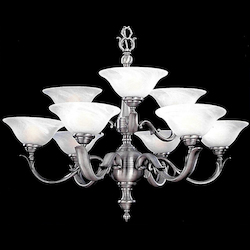 Crystorama 9 Light Pewter Chandelier