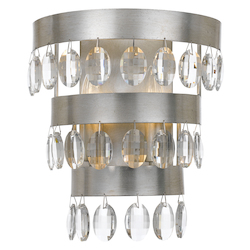 Crystorama Perla 2 Light Antique Silver Sconce