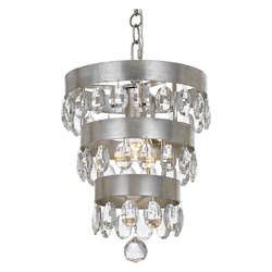 Crystorama Perla 1 Light Antique Silver Mini Chandelier
