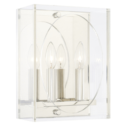 Crystorama Drake 2 Light Polished Nickel Sconce