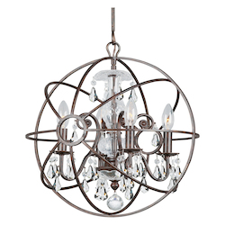 Crystorama Solaris 4 Light Clear Swarovski Strass Crystal Bronze Mini Chandelier