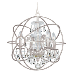 Crystorama Solaris 4 Light Clear Crystal Silver Mini Chandelier