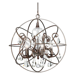Crystorama Solaris 5 Light Swarovski Strass Crystal Bronze Sphere Chandelier