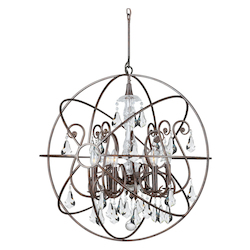 Crystorama Solaris 6 Light Swarovski Strass Crystal Bronze Sphere Chandelier I