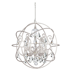 Crystorama Solaris 6 Light Swarovski Crystal Silver Sphere Chandelier I