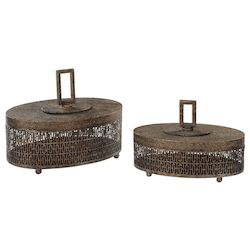 Uttermost Uttermost Agnese Antiqued Gold Boxes, Set Of 2