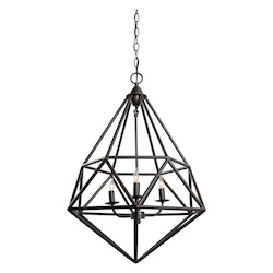 Varaluz Facet 3-Lt Pendant - Forged Iron