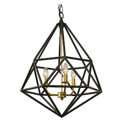 Varaluz Facet 3-Lt Pendant - Forged Iron W/ Gold Leaf