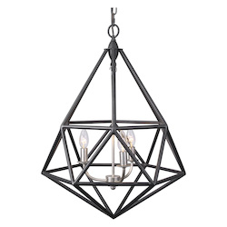 Varaluz Facet 3-Lt Pendant - Forged Iron W/ Silver Leaf