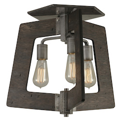 Varaluz Lofty 3-Lt Ceiling Light - Steel W/ Zebrawood