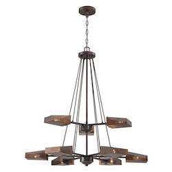 Varaluz Gold Rush 9-Lt 2-Tier Chandelier