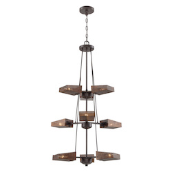 Varaluz Gold Rush 9-Lt 3-Tier Foyer Chandelier