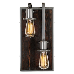 Varaluz Lofty 2-Lt Right Wall Sconce - Steel W/ Zebrawood