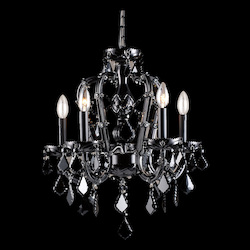 Avenue Lighting Onyx Ln. Collection Black 5 Light Mini Crystal Chandelier