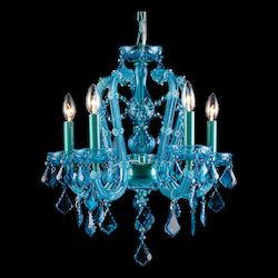 Avenue Lighting Ocean Drive Collection Aqua Blue 5 Light Crystal Mini Chandelier