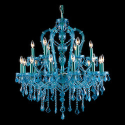 Avenue Lighting Ocean Dr. Collection Aqua Blue 18 Light Crystal Chandelier