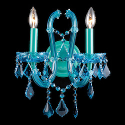 Avenue Lighting Ocean Dr. 2 Light Aqua Blue Crystal Wall Sconce