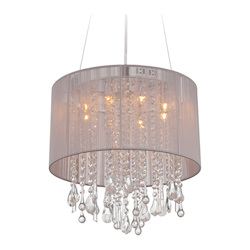 Avenue Lighting Beverly Dr. Collection Round Taupe Silk String Shade And Crystal Dual Mount