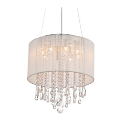 Avenue Lighting Beverly Dr. Collection Round White Silk String Shade And Crystal Dual Mount