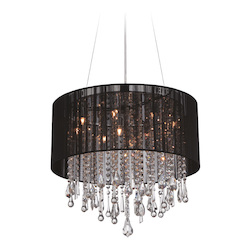 Avenue Lighting Beverly Dr. Collection Round Black Silk String Shade And Crystal Dual Mount