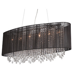 Avenue Lighting Beverly Dr. Collection Oval Black Silk String Shade And Crystal Dual Mount