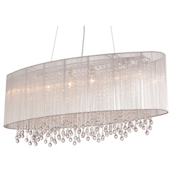 Avenue Lighting Beverly Dr. Collection Oval Silver Silk String Shade And Crystal Dual Mount