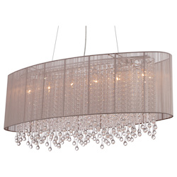 Avenue Lighting Beverly Dr. Collection Oval Taupe Silk String Shade And Crystal Dual Mount
