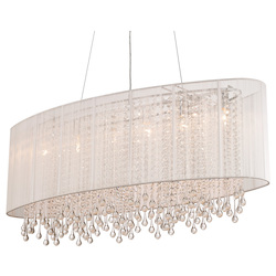 Avenue Lighting Beverly Dr. Collection Oval White Silk String Shade And Crystal Dual Mount