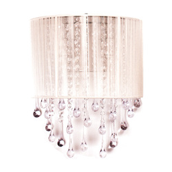 Avenue Lighting Beverly Drive Collection White Silk String And Crystal Wal Sconce