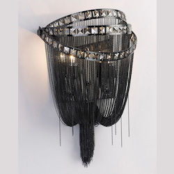Avenue Lighting Wilshire Blvd. Collection Black Chrome Chain And Smoke Crystal Wall Sconce