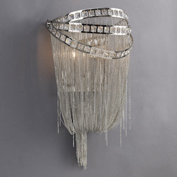 Avenue Lighting Wilshire Blvd. Collection Polish Nickel Chain And Crystal Wall Sconce
