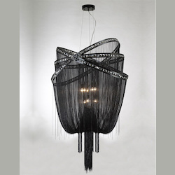 Avenue Lighting Wilshire Blvd. Collection Black Steel Chain Foyear Hanging Fixture