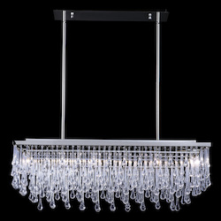 Avenue Lighting Hollywood Blvd. Collection Polished Nickel And Tear Drop Crystal Rectangle Hangi
