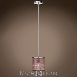 JM 1 Light Brown Drum Shade Pendant Flush Mount In Polished Chrome