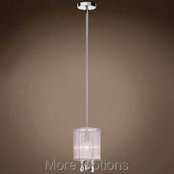 JM 1 Light Cream Drum Shade Pendant Flush Mount In Polished Chrome