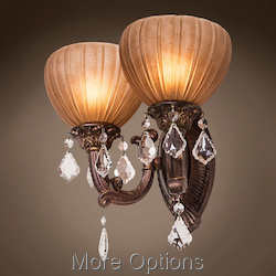JM Monaco Crystal Wall Sconce In Aged Bronze 2 Light 15