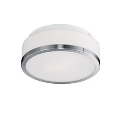 Two Lamp Flush Mount With Metal Trim