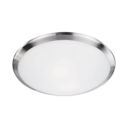 Two Lamp Round Flush Mount With Metal Trim