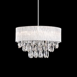 Eight Lamp Ribbed Glass Rod Shade Pendant